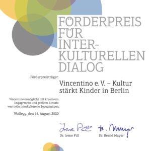 Preisträger 2020: Vincentino e. V. – Kultur stärkt Kinder in Berlin //  Vincentino wurde für sein kreatives Medienbildungsprojekt prämiert, bei dem Heranwachsende der vielfältigen jüdischen Welt in Berlin begegnen.