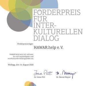 Preisträger 2020: HAWAR.help e. V. // Der Menschenrechtsverein HAWAR.help macht auf das Schicksal von Jesiden sowie anderen verfolgten Minderheiten und Gruppierungen aufmerksam und setzt sich weltweit für eine multireligiöse Bildungsarbeit ein.