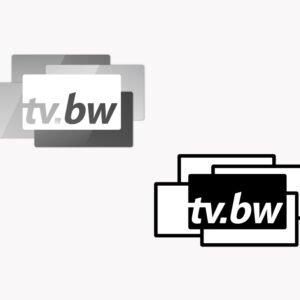 Logo tv.sw in Graustufen und Schwarz-Weiß