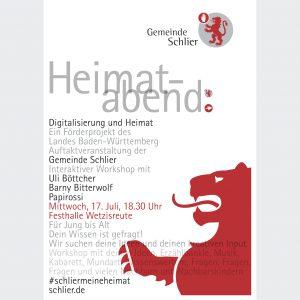 """Gemeinde Schlier, Plakat für den ersten """"Heimatabend"""" 2019"""