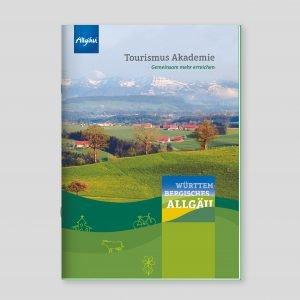 Ausgehend von realen Aussichten entstand die neue Wort-Bildmarke. In stilisierter Form wird die Vielschichtigkeit des Württembergischen Allgäus dargestellt. Die neue Broschüre der Tourismus-Akademie erschien im neuen Look.
