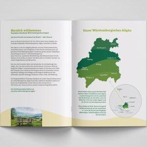 Württembergisches Allgäu – Doppelseite der  Broschüre der Tourismusakademie