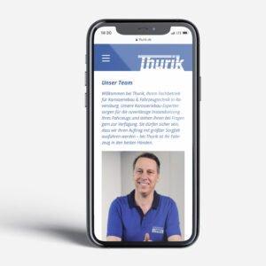 Thurik Website mobile Ansicht