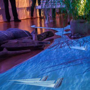 Wir brachten den Bodensee nach Berlin: Projektion des Sees auf den Fußboden über 6m Länge.