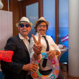 Tom Maier und Stephan Kämmerle, verantwortlich für die Inzenierung der IBK auf der Stallwächterparty 2016 in Berlin, in Feier-Laune