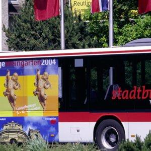 Trafficboard auf Stadtbus